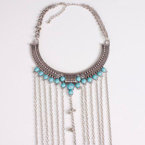 Shop Vintage Faux Turquoise Necklace Beach Full Body Jewelry Chain - SILVER  Mobile