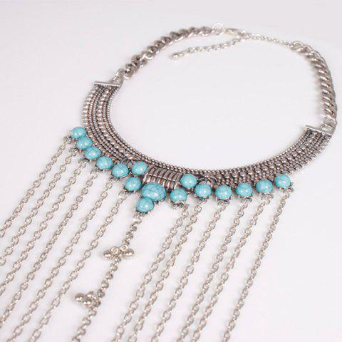 Hot Vintage Faux Turquoise Necklace Beach Full Body Jewelry Chain - SILVER  Mobile