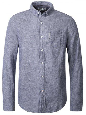 Hot Turn-Down Collar Button-Down Linen Shirt For Men
