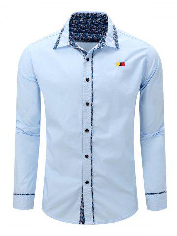 Trendy Embroidery Floral Print Splicing Turn-Down Long Sleeve Shirt For Men LIGHT BLUE 2XL