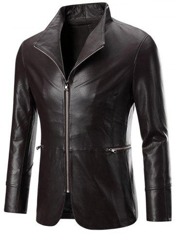 Solid Color Zippered Long Sleeve Faux Leather Jacket For Men