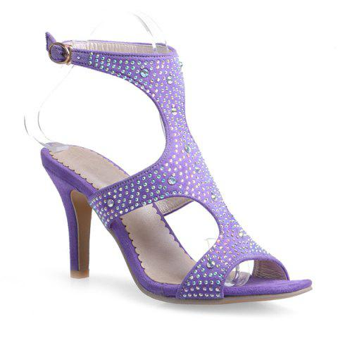 Online Stylish Rhinestones and Cut Out Design Sandals For Women