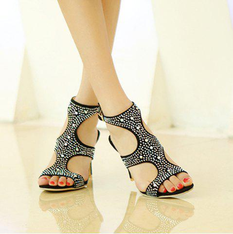 Chic Stylish Rhinestones and Cut Out Design Sandals For Women - 42 BLACK Mobile