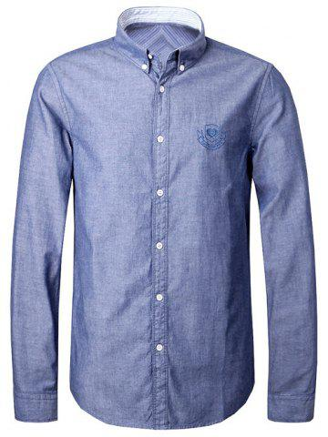 Shops Turn-Down Collar Embroidery Logo Button-Down Shirt For Men