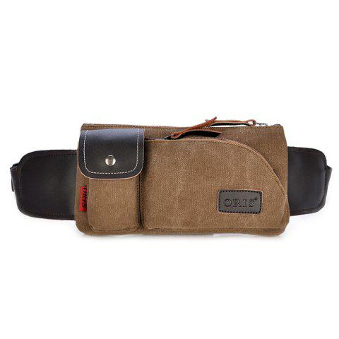 Latest Leisure Splicing and Magnetic Closure Design Messenger Bag For Men COFFEE