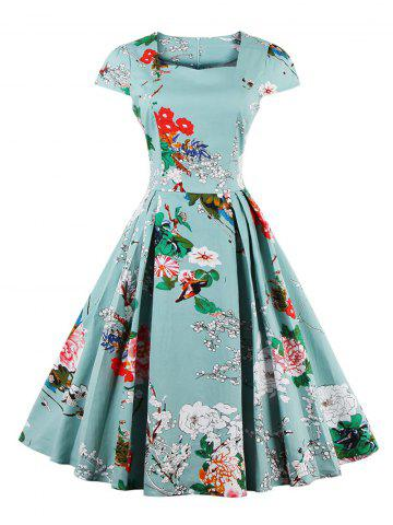 Retro Sweetheart Neck Cape Sleeve Floral Print Flare Dress - LIGHT BLUE M
