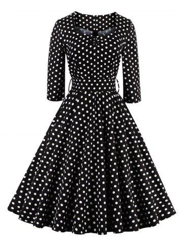 Store Retro Sweetheart Neck Polka Dot Printed Flare Dress BLACK 4XL
