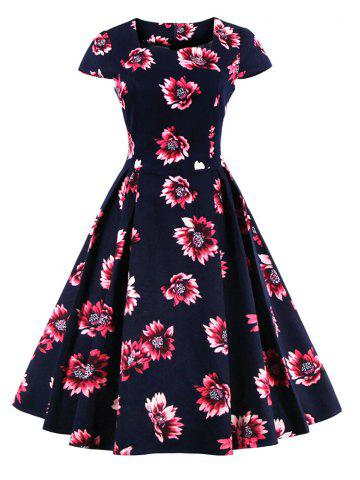 Cheap Retro Sweetheart Neck Cape Sleeve Floral Print Skater Dress