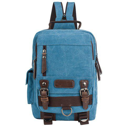 Outfit Leisure Canvas and Double Buckle Design Backpack For Men AZURE