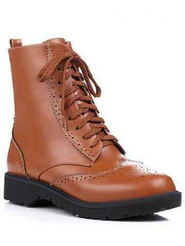 Trendy Casual Tie Up and Engraving Design Short Boots For Women BROWN 39