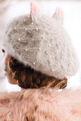 Chic Faux Pearl Beaded Knitted Beret - GRAY  Mobile