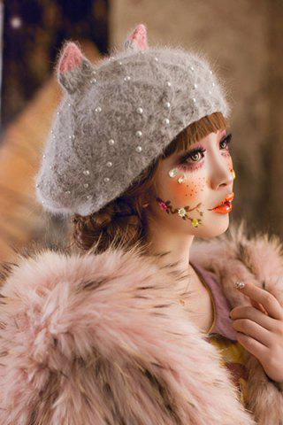 Outfit Faux Pearl Beaded Knitted Beret - GRAY  Mobile