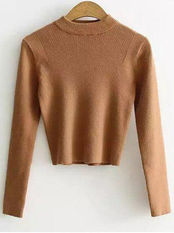 High Neck Cropped Sweater - EARTHY - ONE SIZE