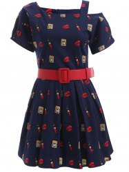 Cute Pattern Hollow Out Belted Dress -