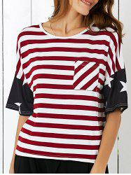 Single Pocket American Flag T-Shirt