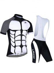 Active Spliced Bibshort + Short Sleeve Bike Jerseys Twinset For Men - WHITE AND BLACK