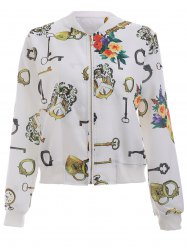 Floral Printed Long Sleeve Stand Collar Bomber Jacket -