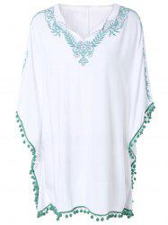 Loose-Fitting Embroidered Bat Sleeve Dress -