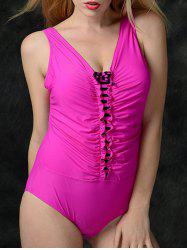 Stylish Women's V-Neck Ruched One-Piece Swimsuit