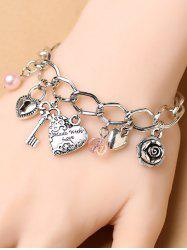 Stylish Heart Key Lock Charm Bracelet -