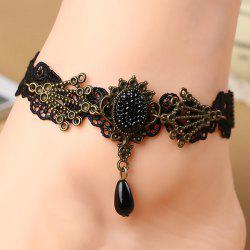Teardrop Fake Crystal Lace Anklet -