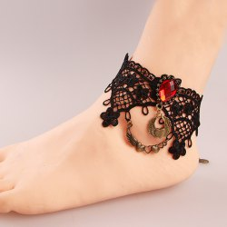 Stylish Black Lace Crochet Teardrop Heart Charm Anklet For Women -
