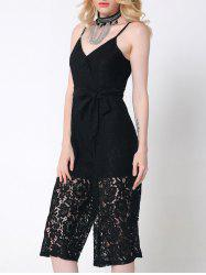 Stunning Pure Color Lace Tied Jumpsuit For Women -