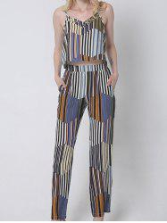 Casual Hit Color Tank Top and Striped Pants Set For Women -
