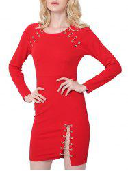 Attractive Chain Design Slit Bodycon Dress For Women