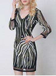 Ornate Sequined V Neck Bodycon Dress With Sleeves