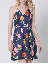 Retro Spaghetti Strap Open Back Floral Dress For Women