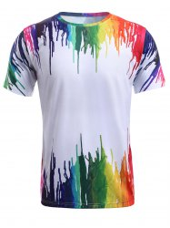 3D Colorful Splatter Paint Round Neck T-Shirt - WHITE