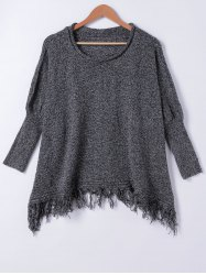 Chic Loose Fitting Fringed Sweater - BLACK GREY ONE SIZE(FIT SIZE XS TO M)