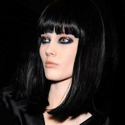 Sophisticated Human Hair Medium Jet Black Straight Full Bang Capless Wig For Women -