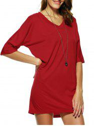 Casual V Neck Half Sleeve Dress -