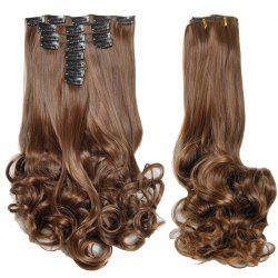 Medium Curly High Temperature Fiber Clip In Hair Extension For Women - DEEP BROWN