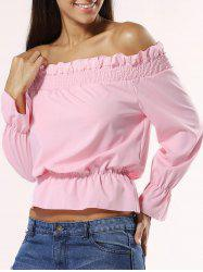 Off The Shoulder Ruched Waisted Blouse -