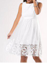 Ladylike Floral Pattern Pure Color Dress -