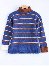 Fashionable Turtle Neck Striped Sweater -