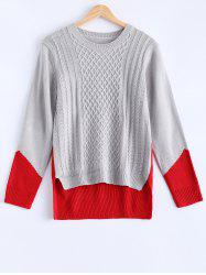 Fashionable Color Block Asymmetric Sweater -