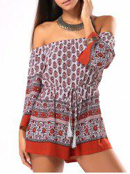 Ethnic Style Tribal Pattern Strappy Romper -