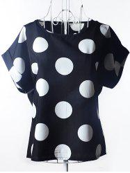 Stylish Polka Dot Loose-Fitting Chiffon Women's Blouse - BLACK
