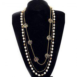 Faux Pearl Rose Layered Sweater Chain -