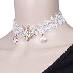 Lace Faux Pearl Flower Choker Necklace