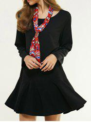 Oversized Sweet Flounce Pure Color Trumpet Dress With Necktie -