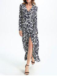 Maxi Floral Slit Long Sleeve Wrap Swing Dress
