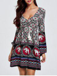 Stylish Low Cut Drawstring Waist Backless Print Bell Sleeve Dress