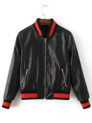 Fashion Zipper Fly Dragonfly Pattern Beaded Faux Leather Jacket -