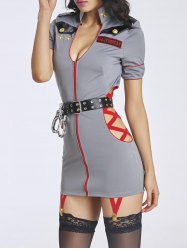Alluring Women's Hollow Out Police Dress Costume -