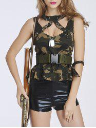 Chic Women's Camo Spliced Military Costume